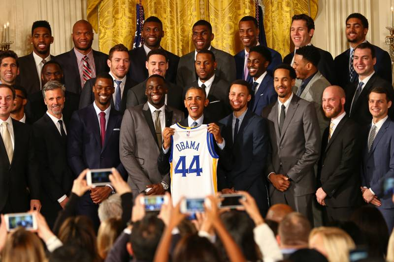 The defending NBA Champions visited Barack Obama during trip to Washington