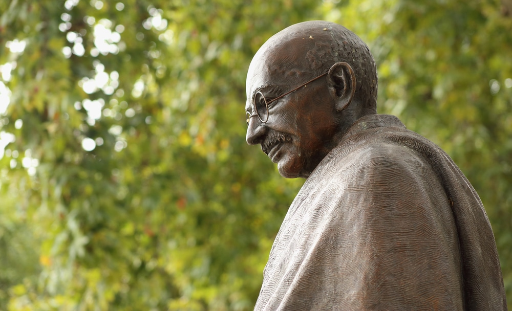 On Gandhi's birthday, his remains stolen and picture vandalized